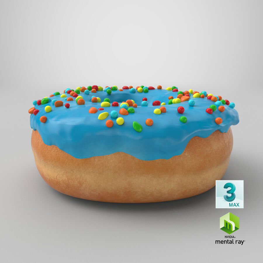 Donut 01 - Blue royalty-free 3d model - Preview no. 24