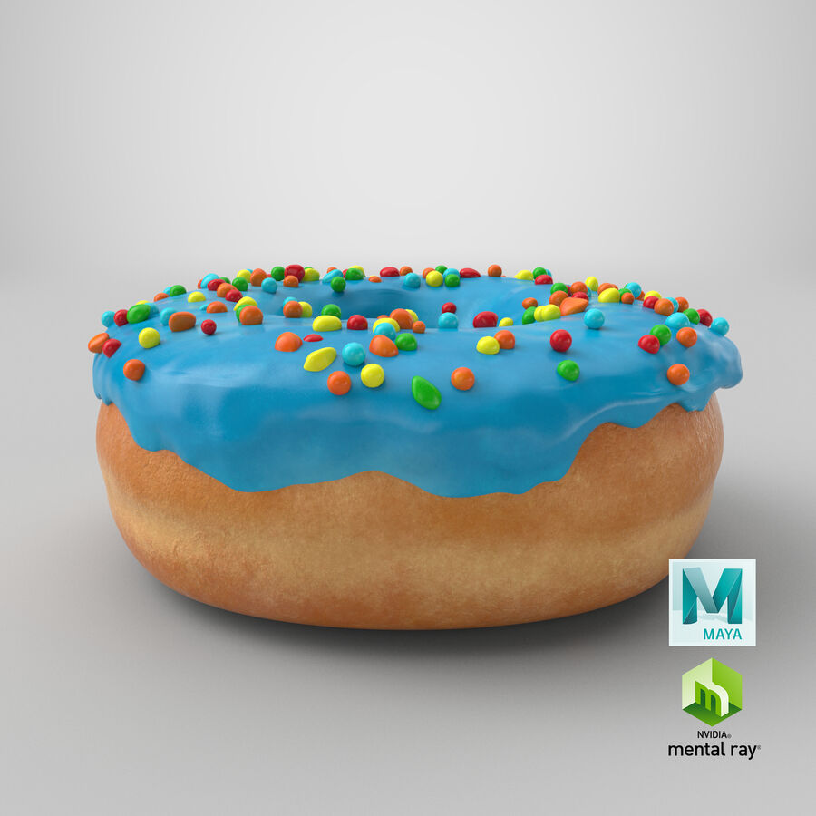 Donut 01 - Blue royalty-free 3d model - Preview no. 22