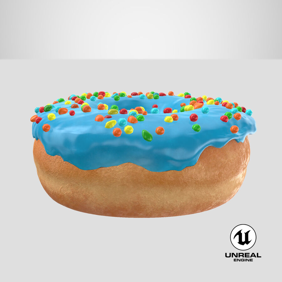 Donut 01 - Blue royalty-free 3d model - Preview no. 26