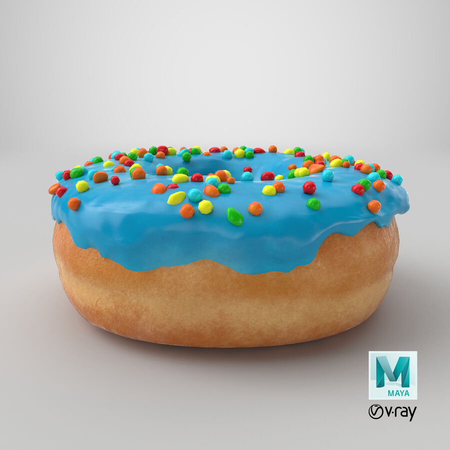 Donut 01 - Blue royalty-free 3d model - Preview no. 21