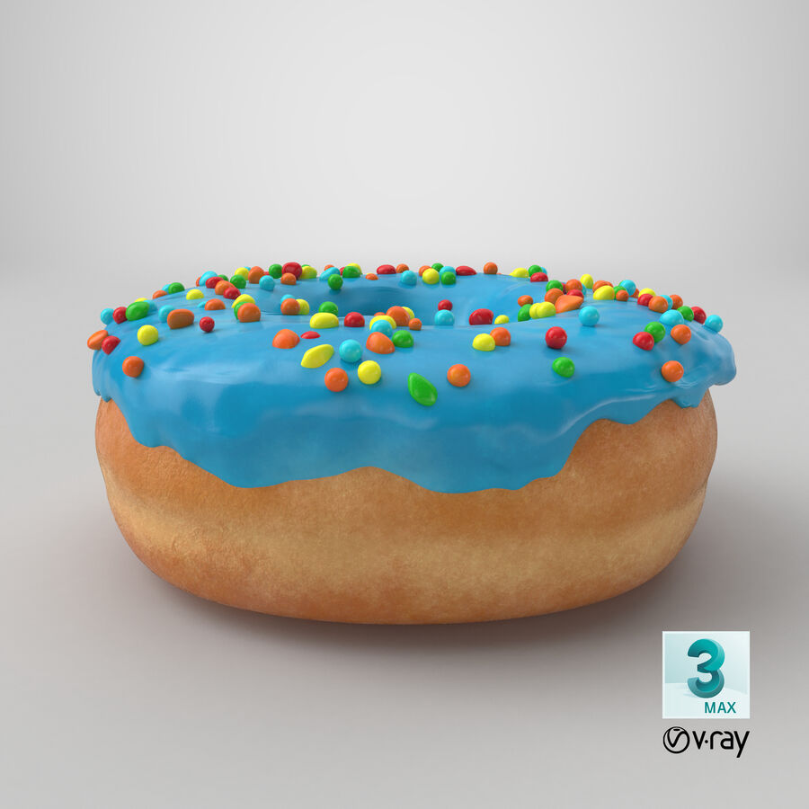 Donut 01 - Blue royalty-free 3d model - Preview no. 23