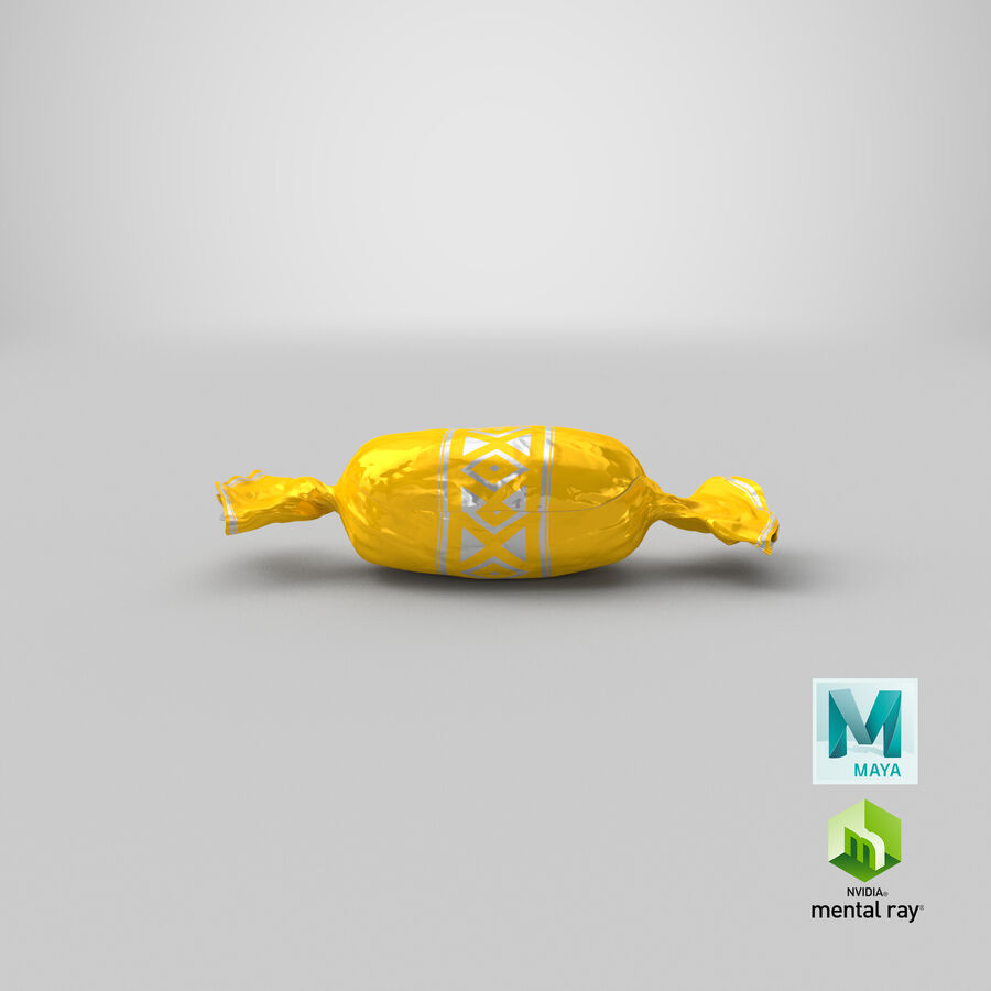 Doces Duros Amarelo royalty-free 3d model - Preview no. 20