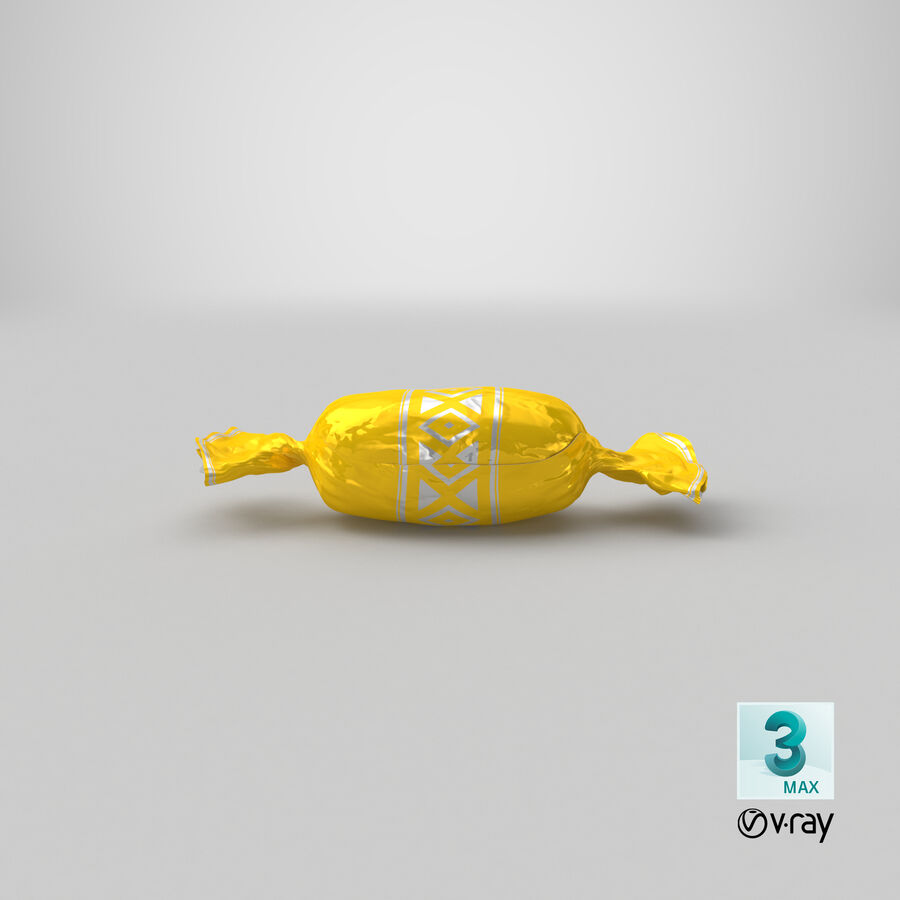 Doces Duros Amarelo royalty-free 3d model - Preview no. 21