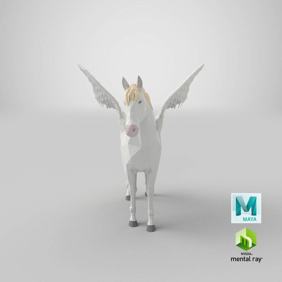 Pegasus stehend royalty-free 3d model - Preview no. 21