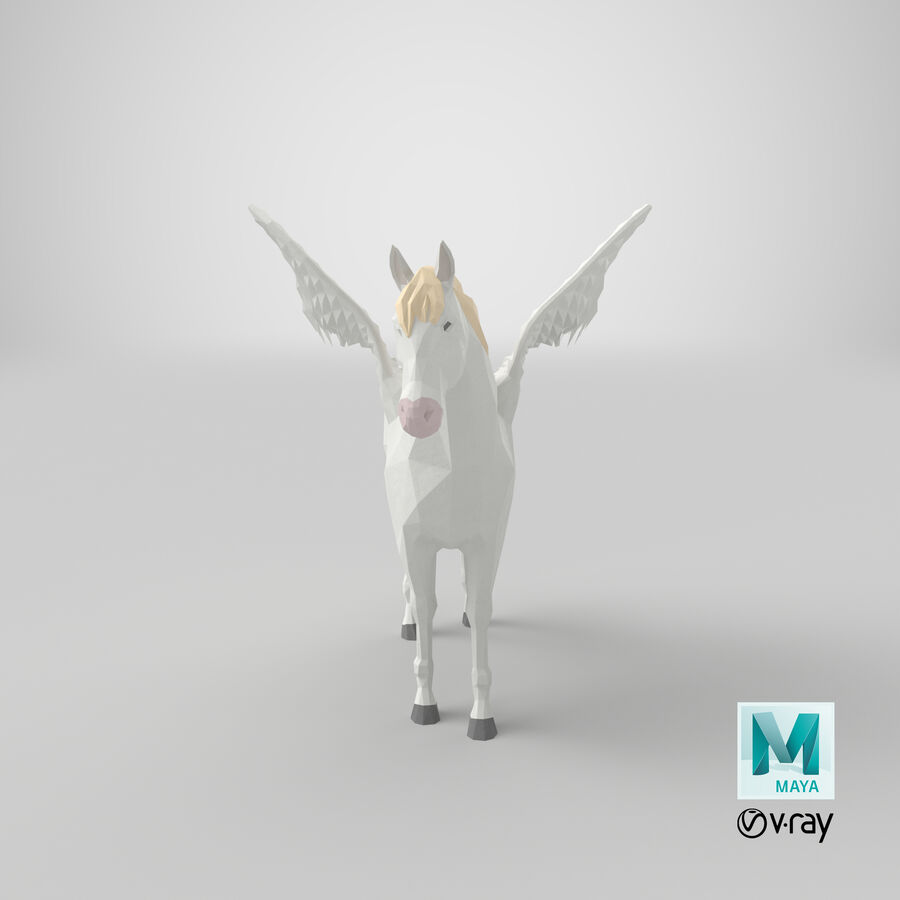 Pegasus stehend royalty-free 3d model - Preview no. 20