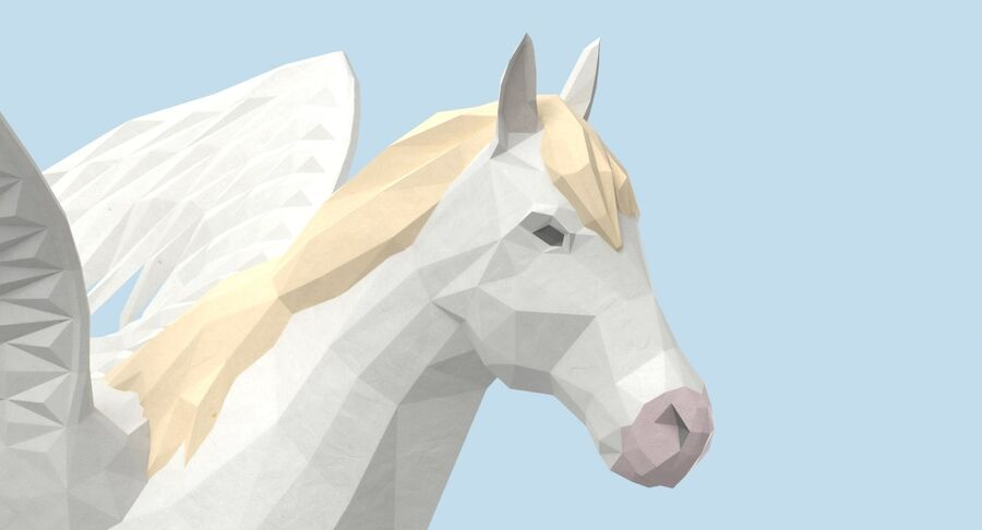 Pegasus stehend royalty-free 3d model - Preview no. 10