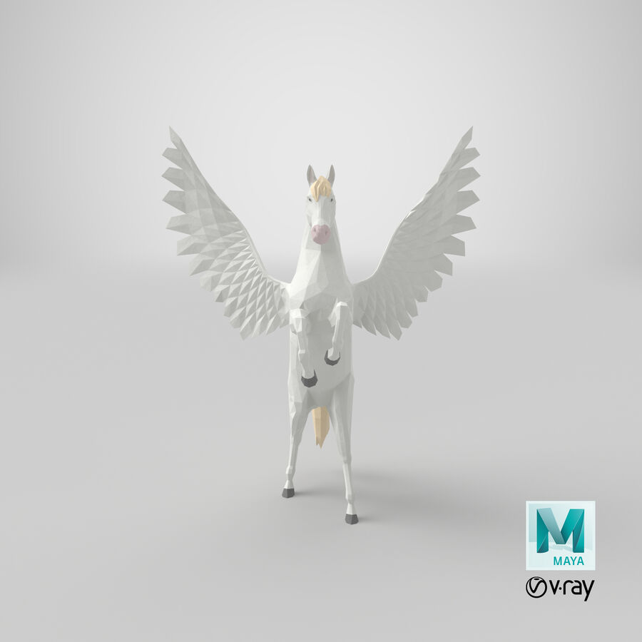 Pegasus uppfödning royalty-free 3d model - Preview no. 19