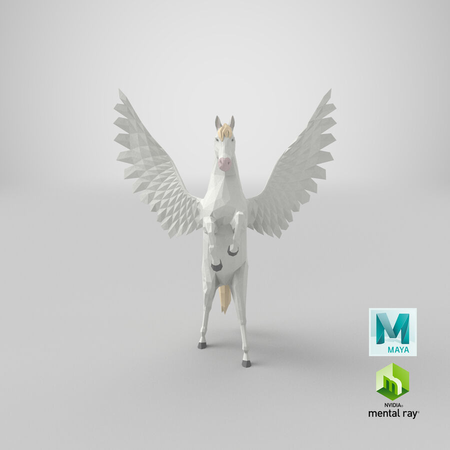 Pegasus uppfödning royalty-free 3d model - Preview no. 20