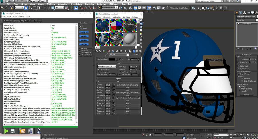 Американский футбольный шлем royalty-free 3d model - Preview no. 21
