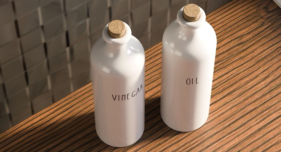 Ceramic Oil Bottles royalty-free 3d model - Preview no. 6