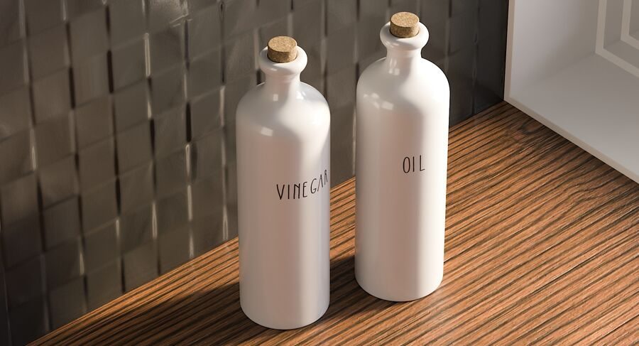 Ceramic Oil Bottles royalty-free 3d model - Preview no. 3