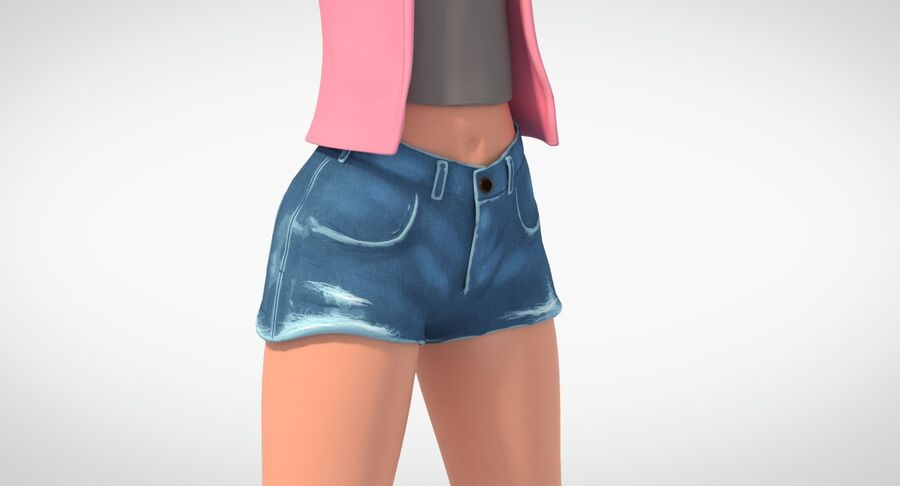 Çizgi film genç kız royalty-free 3d model - Preview no. 6