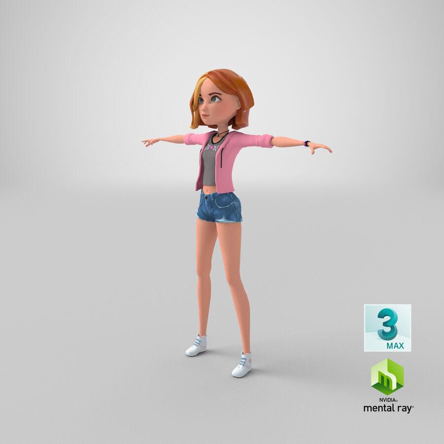Çizgi film genç kız royalty-free 3d model - Preview no. 15