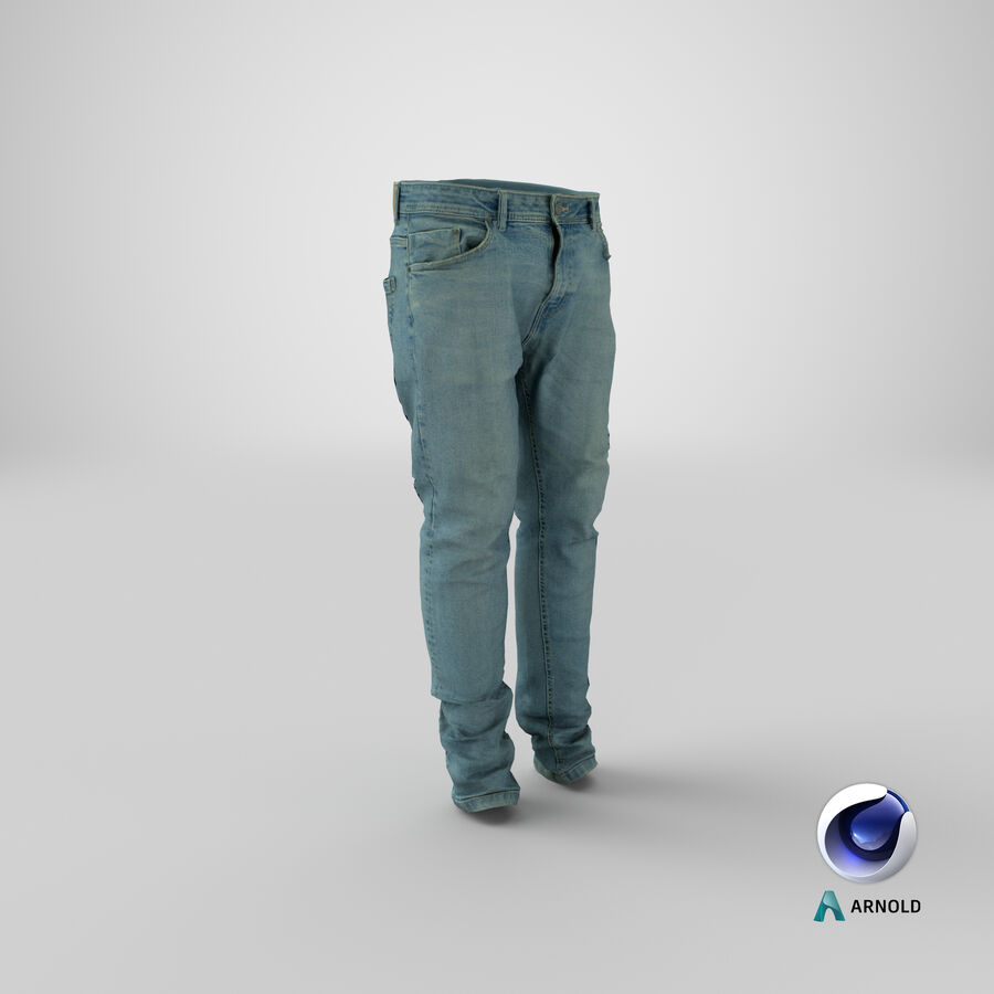 Jeans azul royalty-free modelo 3d - Preview no. 26