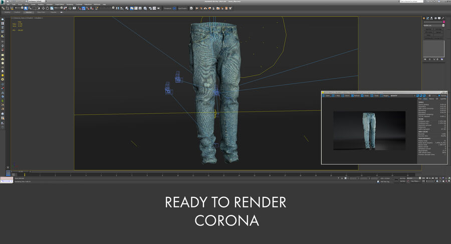 Jeans azul royalty-free modelo 3d - Preview no. 23