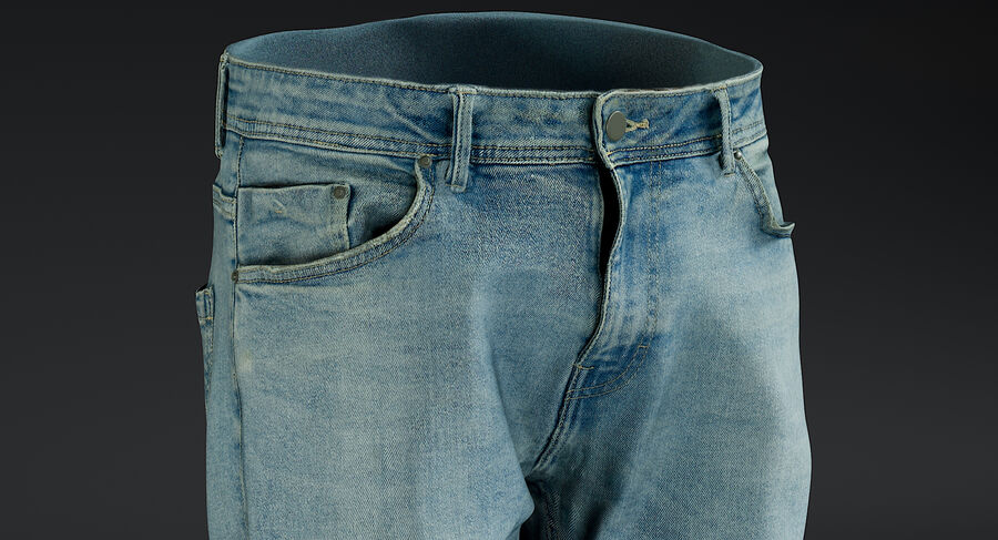 Jeans azul royalty-free modelo 3d - Preview no. 6