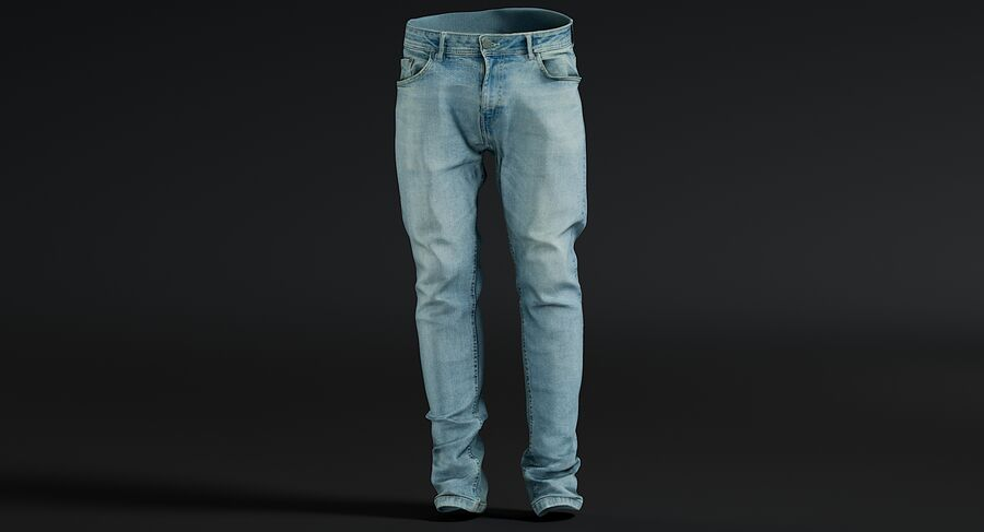 Jeans azul royalty-free modelo 3d - Preview no. 11