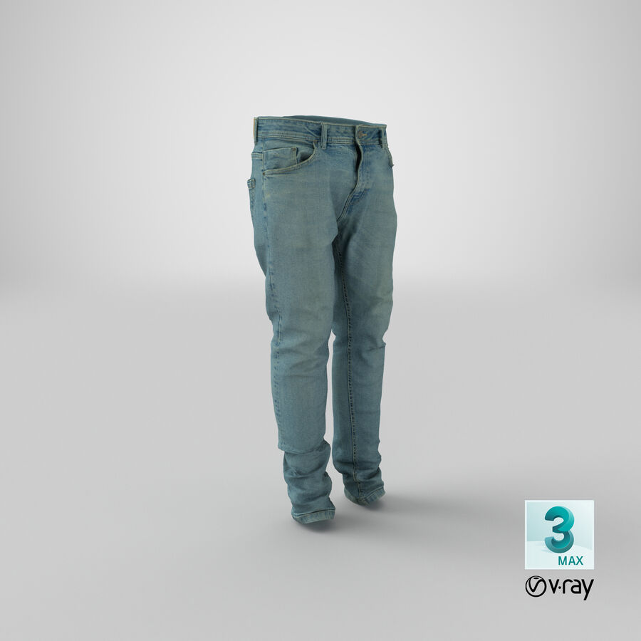 Jeans azul royalty-free modelo 3d - Preview no. 31