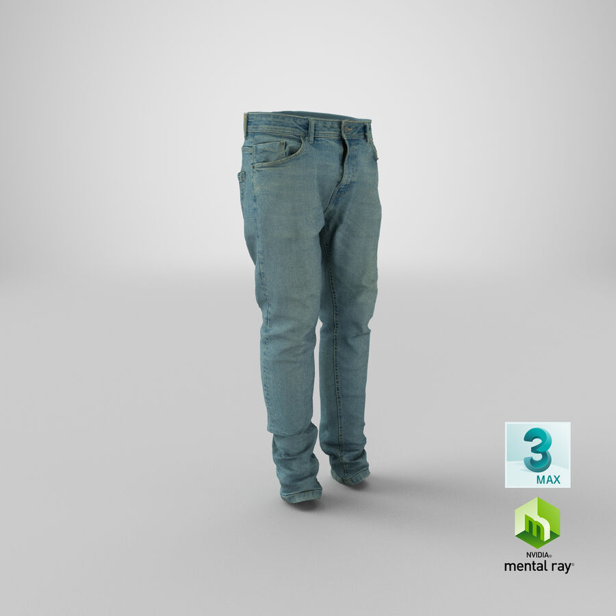 Jeans azul royalty-free modelo 3d - Preview no. 30