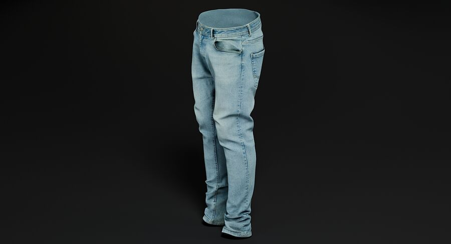 Jeans azul royalty-free modelo 3d - Preview no. 5