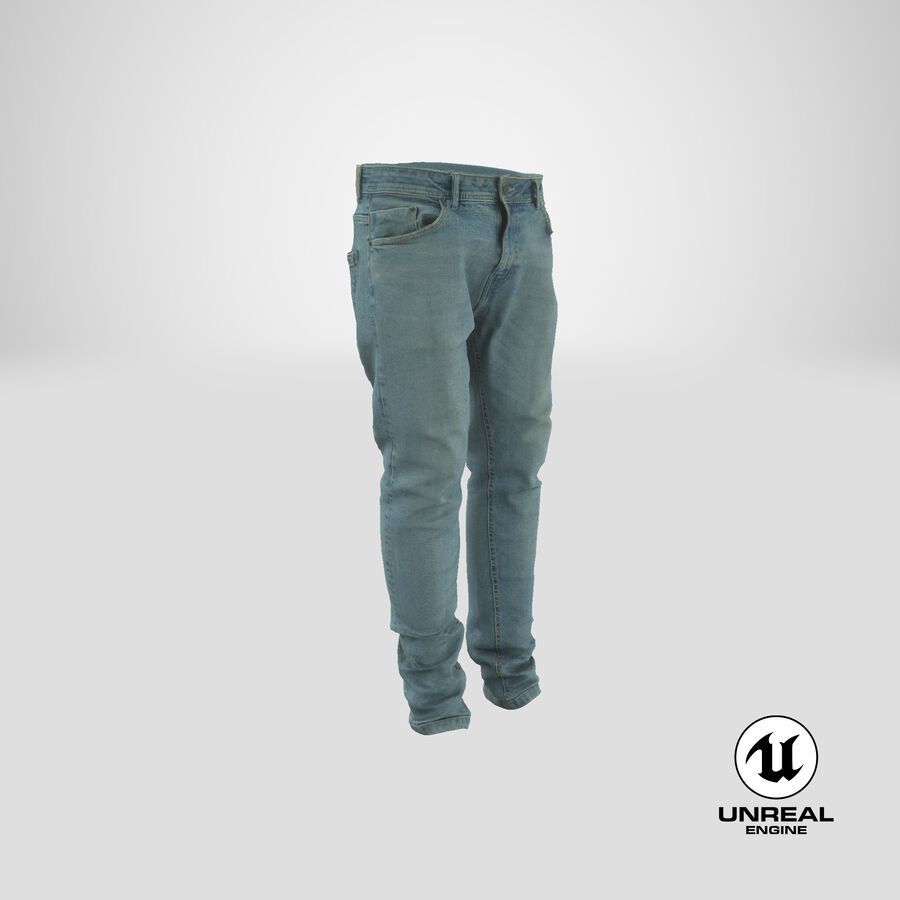 Jeans azul royalty-free modelo 3d - Preview no. 28
