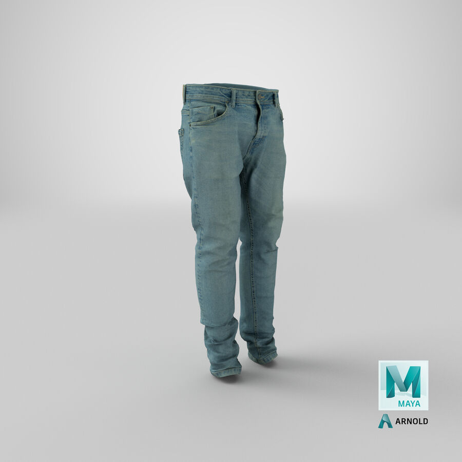 Jeans azul royalty-free modelo 3d - Preview no. 32