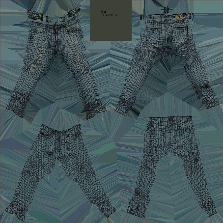 Jeans azul royalty-free modelo 3d - Preview no. 22