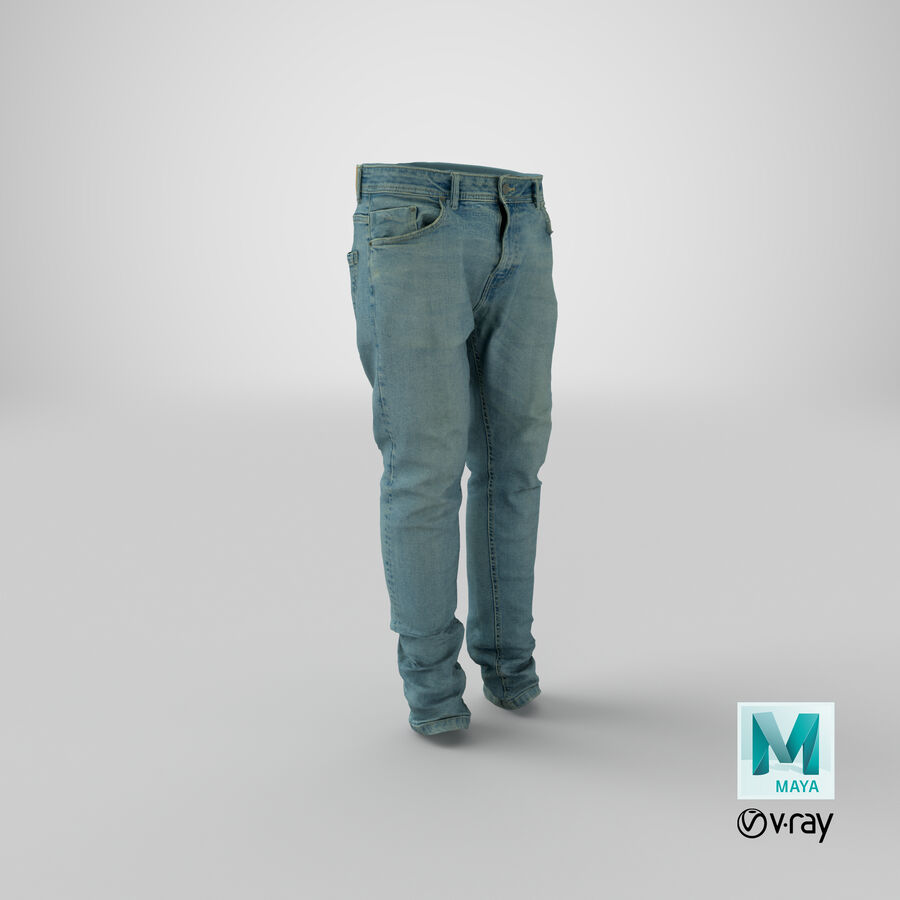 Jeans azul royalty-free modelo 3d - Preview no. 34