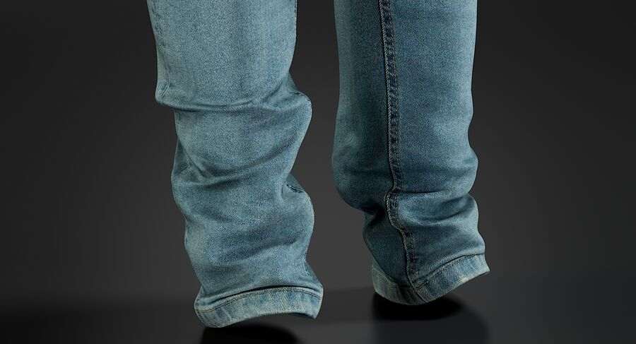 Jeans azul royalty-free modelo 3d - Preview no. 8