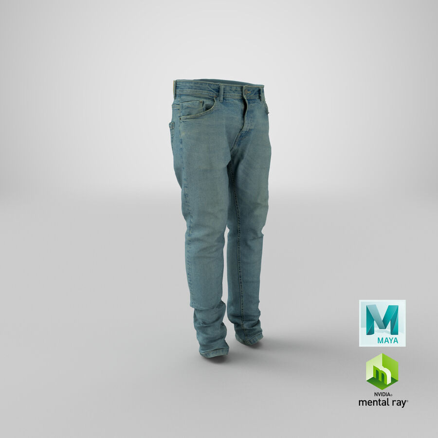 Jeans azul royalty-free modelo 3d - Preview no. 33