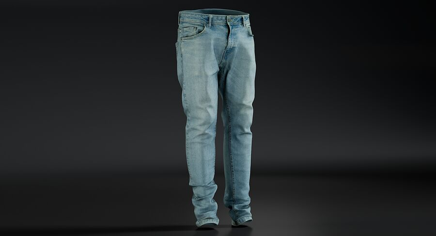 Jeans azul royalty-free modelo 3d - Preview no. 3