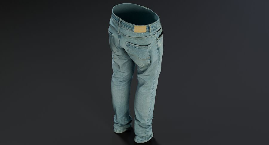 Jeans azul royalty-free modelo 3d - Preview no. 9
