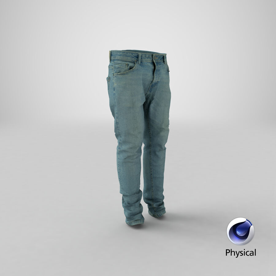 Jeans azul royalty-free modelo 3d - Preview no. 25
