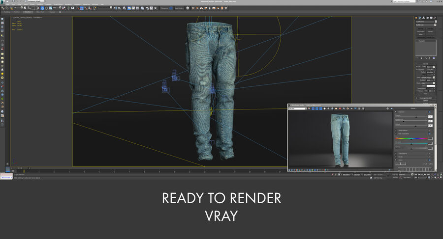 Jeans azul royalty-free modelo 3d - Preview no. 24