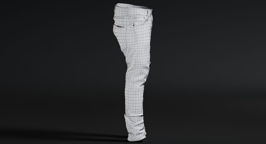 Jeans azul royalty-free modelo 3d - Preview no. 17