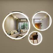 円形および円形の自己照明ミラー 3d model