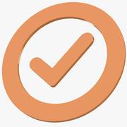 Ikona symbolu znacznika sprawdzania poprawności 3d model
