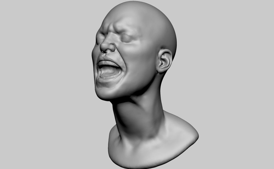 Female Head v5 royalty-free 3d model - Preview no. 6