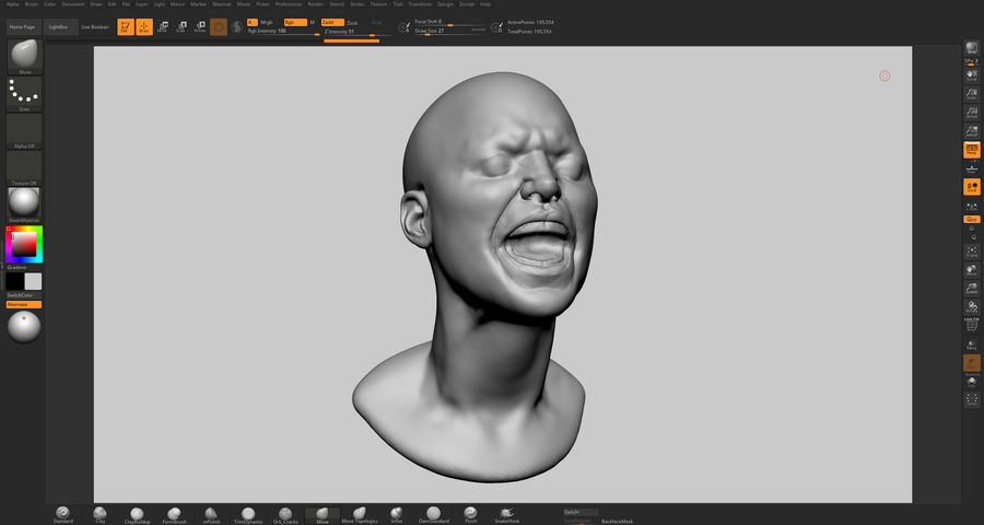 Female Head v5 royalty-free 3d model - Preview no. 9