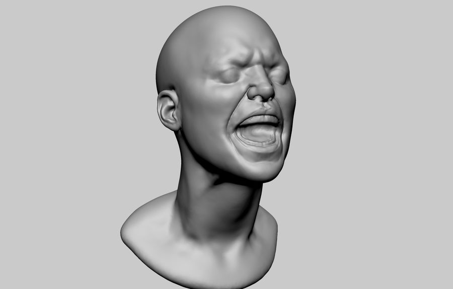 Female Head v5 royalty-free 3d model - Preview no. 1
