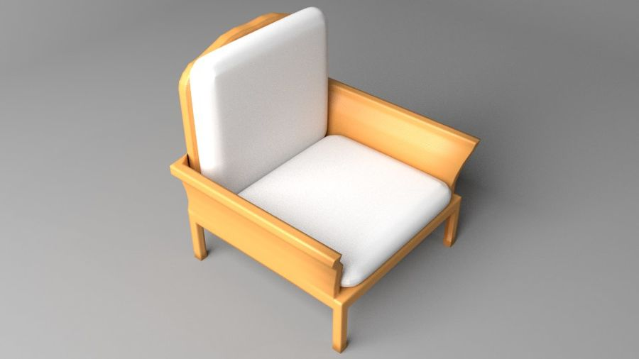 Soffa enkelstol 5 royalty-free 3d model - Preview no. 6