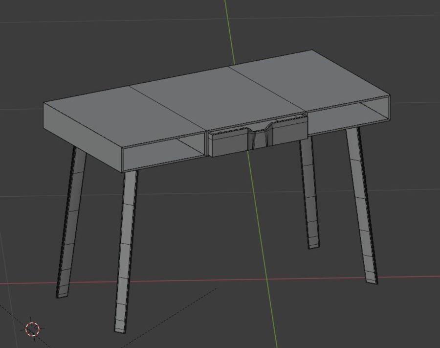 금속 다리와 현대 나무 책상 royalty-free 3d model - Preview no. 4