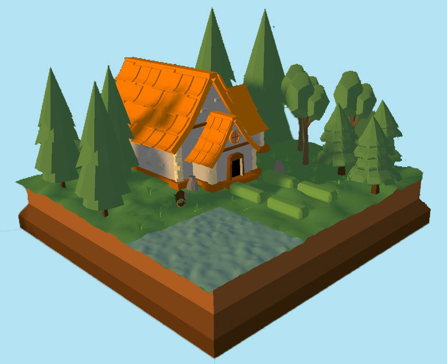 Low Poly Forest 90 assets royalty-free 3d model - Preview no. 4