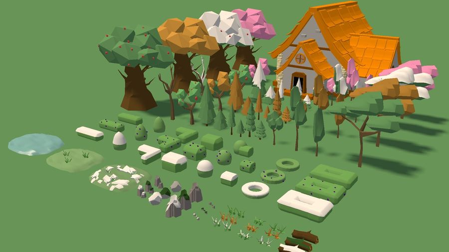 Low Poly Forest 90 assets royalty-free 3d model - Preview no. 3