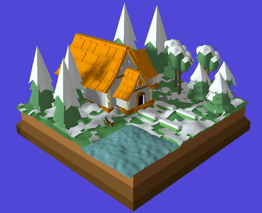 Low Poly Forest 90 assets royalty-free 3d model - Preview no. 5