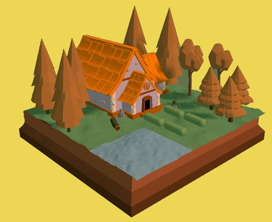 Low Poly Forest 90 assets royalty-free 3d model - Preview no. 6