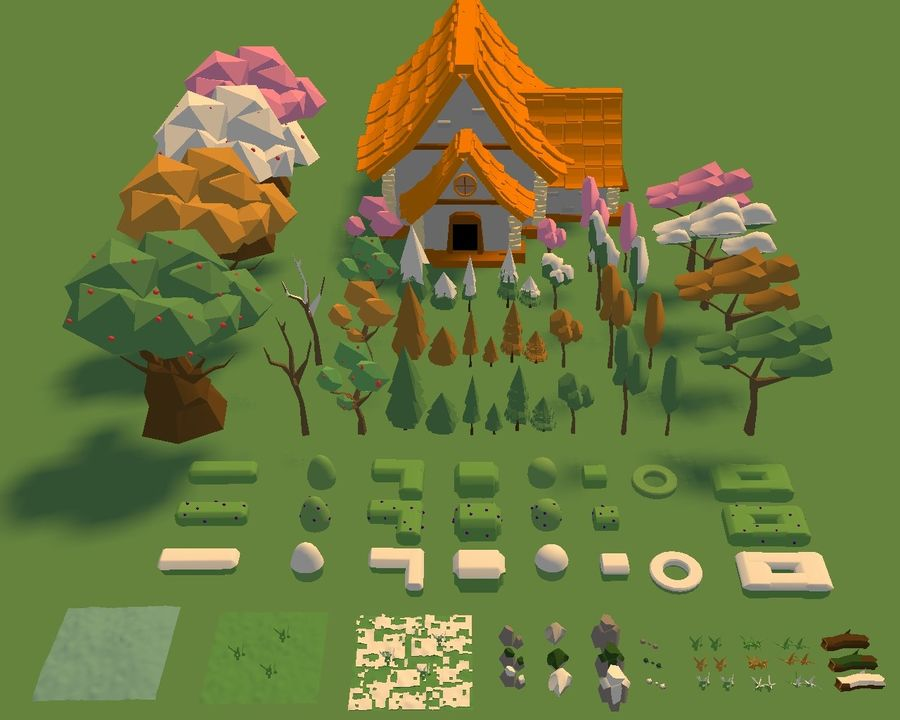 Low Poly Forest 90 assets royalty-free 3d model - Preview no. 2