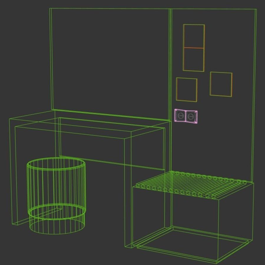 Bedroom Furniture royalty-free 3d model - Preview no. 10