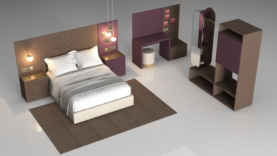 Bedroom Furniture royalty-free 3d model - Preview no. 1