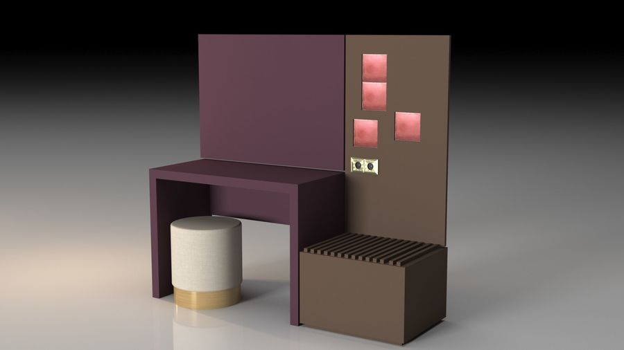 Bedroom Furniture royalty-free 3d model - Preview no. 7